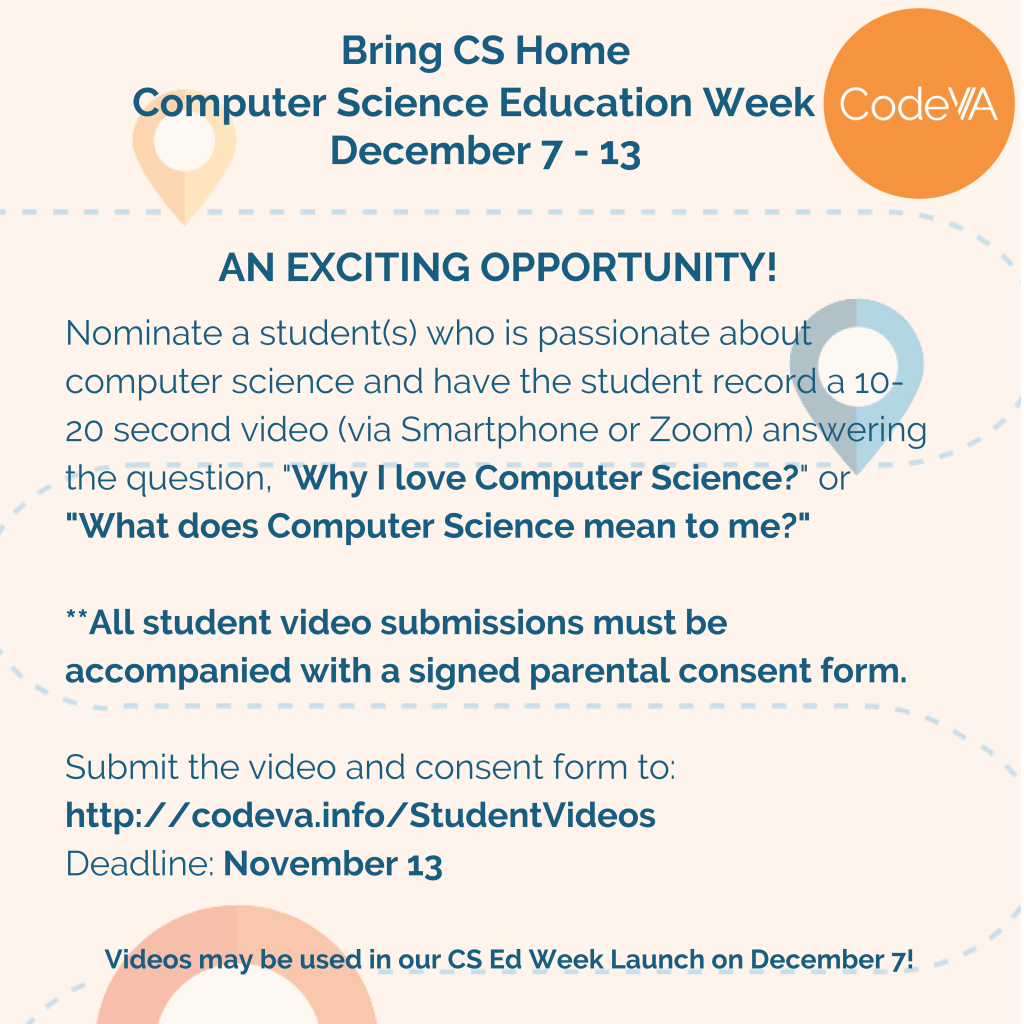 Use the buttons below to download the video directions and parental consent form. Videos can be uploaded at codeva.info/studentvideos