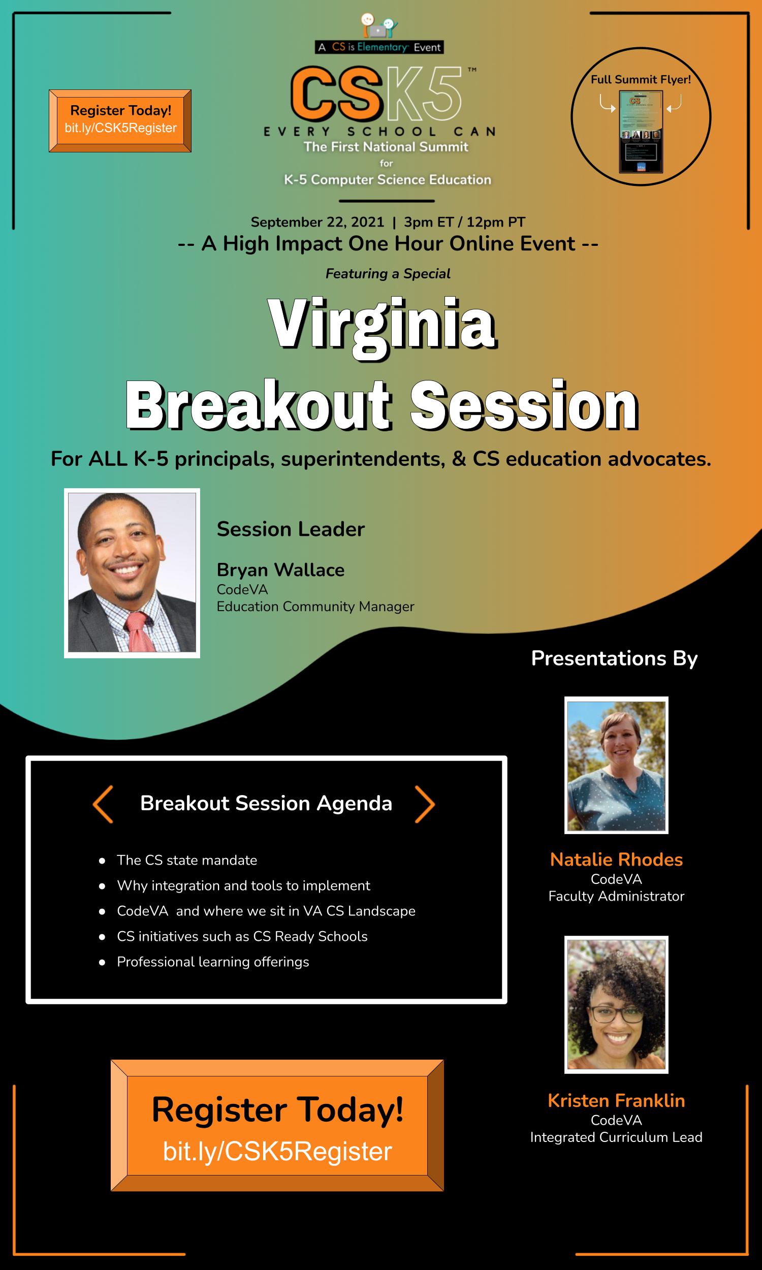 CSK5 Summit - Virginia Breakout Information